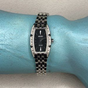 Seiko Ladies Solar Black Face Watch Diamonds SS